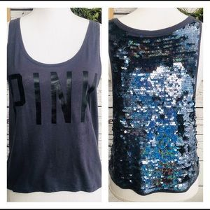 Victoria Secret PINK Sequins Cropped Tank Top XS